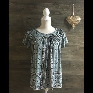Turquoise and Blue Style & Co Short Sleeve Blouse